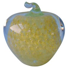 West Virginia Glass Paperweight Vintage Apple Controlled Bubble ca 1960