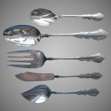 Dresden Rose 1953 Vintage Silver Plated Serving Fork Slotted Spoon Butter Knife Sugar Jelly Reed Barton