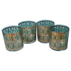 Rare Imperial Shoji Trellis Variant 4 Old Fashioned Rocks Bar Glasses Green Gold Vintage
