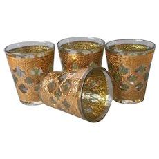 Culver Valencia 4 Shot Glasses Vintage Mid Century Barware Green Gold