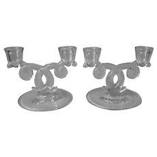 Heisey Lariat Pair 2 Lite Candlesticks Glass Vintage