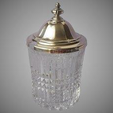 Jam Jar Pot Pressed Glass Silver Plated Lid Vintage