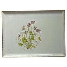 Otagiri Lacquer Tray Vintage Violets On Ivory Color Ground