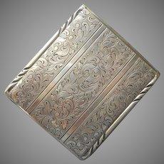 Hoka Cigarette Case Vintage German Silver Alpaca Handsome Engraved