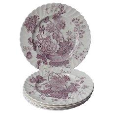 Clarice Cliff Charlotte Purple Transferware Plates Vintage Flower Baskets