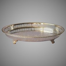 Gallery Rim Oval Footed Silver Plated Tray Vintage