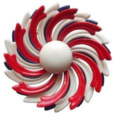 1960s Patriotic Colors Flower Pin Enamel Red White Blue Vintage