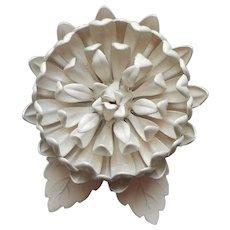 1960s Summer All White Enamel Painted Flower Pin Vintage