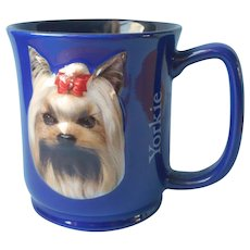 Yorkie Mug Paw Prints By Encore 3D Cobalt Blue