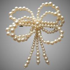 ca 1990 Big Barrette Faux Pearls Bow Vintage