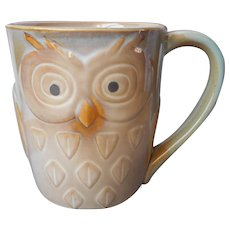 Gibson Owl Mug Soft Earth Colors 16 Ounce Mocha Blue Golden Brown