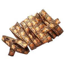 Very Vintage Ribbon Trim Wool Padded Metallic Brown Orange