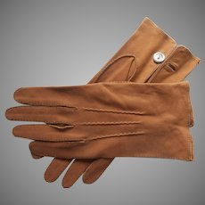 Alfred Dunhill Gloves Vintage English Hand Sewn Leather Size 8 Mens S Ladies L
