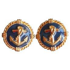 cb2fd6d31 Nautical Pierced Earrings Early 1990s Gold Tone Anchors Navy Blue Enamel