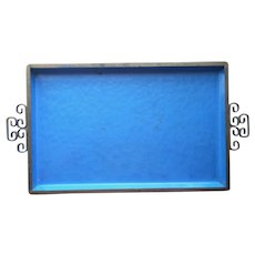 Kyes Enamel Moire Glaze Tray Blue Chinoiserie Decoration Vintage Mid Century