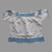 1920s Baby Dress Peasant Embroidery Vintage Heavy Linen