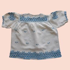 Baby Dress Peasant Embroidery Vintage 1920s Rough Linen
