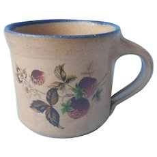 Monroe Salt Works Mug Strawberries Blue Rim Stoneware Pottery