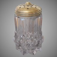 Sugar Shaker Antique Heavy Pressed Glass Brass Lid TLC