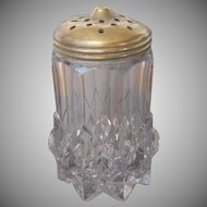 Sugar Shaker Antique Heavy Pressed Glass Brass Lid TLC