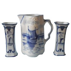 Antique German BLue WhIte China Delft Style Pitcher Pair Small Vases