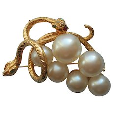 Snakes Faux Pearls Pin Grapes Cluster Vintage late 1980s early 1990s