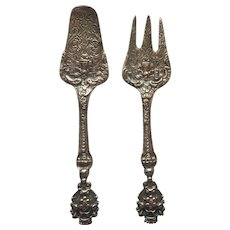 Ornate Italy Metal Hors D'oeuvres Fork Spade Server Serving Cheese Pastry Vintage