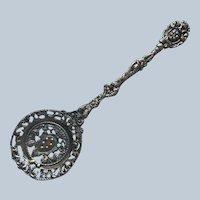 Ornate Italy Vintage Pierced Metal Server Serving Piece Flat Spoon