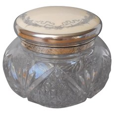 Antique Vanity Jar Silver Overlay On Celluloid Lid Pressed Glass