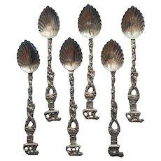 Ornate Italy Demitasse Coffee Spoons Vintage Mid Century Set 6