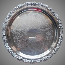 Ornate Roses Rim Silver Plated Round Tray Vintage Oneida 12.5 Inch