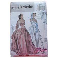 Pattern Butterick Retro '52 Strapless Evening Dress B4918 6 8 10 12