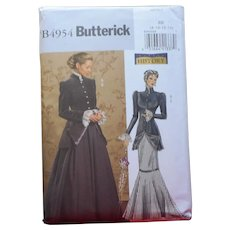 Pattern Sewing Victorian Style Jacket Skirt Butterick History B4954  8 10 12 14