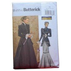 Pattern Sewing Victorian Style Jacket Skirt Butterick History B4954  8 10 12 14