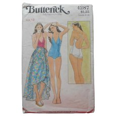 1970s Swimsuit Pattern Sewing Butterick 4287 One Piece Wrap Skirt Coverup