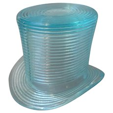Match Strike Glass Hat Aqua Match Holder Toothpick Vintage