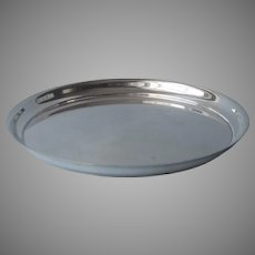 Plain Silver Plated Small Round Tray Antique 8 Inches
