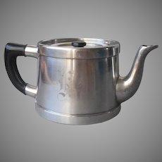 Monogram K Antique Single Serve Teapot Silver Plated Hotel Ware