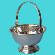 Hammered Silver Plated Small Basket Vintage Candy Nuts