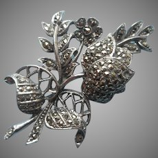 1930s Marcasite Sterling Silver Pin Rose Buds Leaves Vintage Art Deco
