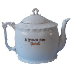 Souvenir Of Balsall England Antique China Teapot Gold White Flowers