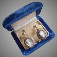 Italy Vintage Carved Mother Of Pearl Cameo Earrings 800 Silver Screw Back Dangle