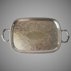 Serving Tray Vintage Silver Plated Handles Rectangular Wm. A. Rogers