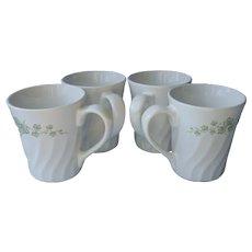 Callaway Corelle Coordinates Stoneware Set 4 Mugs Ivy White Green