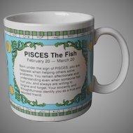 Pisces Mug Vintage Aqua White Russ Berrie Zodiac