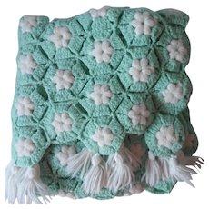 Aqua Crocheted Lap Blanket Afghan White Vintage A Bit TLC