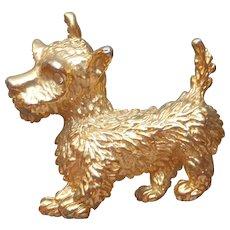 Westie or Scottie Dog Pin Vintage Gold Tone Rhinestone Eyes Figural