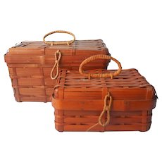 Vintage 1930s to 50s Japan Split Bamboo Basket Boxes