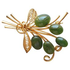 Jade Oval Cabochons Pin Gold Plated Filigree Vintage