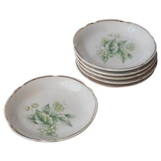 Butter Pat Dishes Pats Antique China 6 Green Leaves Flowers